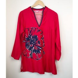Lilly Pulitzer Ciara Tunic Red Navy Floral Top L